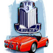 Triumph Tr-3 Red Poster