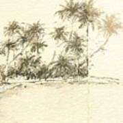 Tropical Beach Drawing Poster