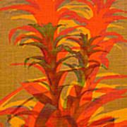 Syncopated Botanicals In Tangerine Orange Poster