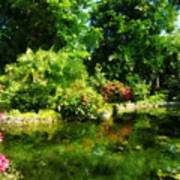 Tropical Garden By Lake Poster
