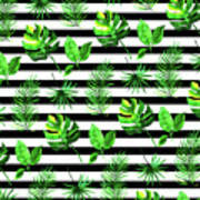 Tropical Leaves Pattern In Watercolor Style With Stripes Poster