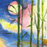 Tropical Moonlight And Bamboo Poster