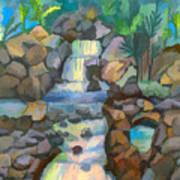 Tropical Rainbow Waterfall Poster