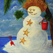 Tropical Snowman Poster