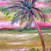 Tropical Sunset In Pink With Palm Tree Poster