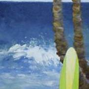 Tropical Surfboard Poster