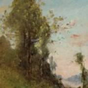 Trouillebert, Paul Desire 1829 Paris 1900 Farmer Sitting On The Edge Of The Water Poster