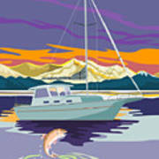 Trout Jumping Boat Poster