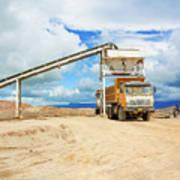 Truck Loading Gravel In Tabnzania. Poster