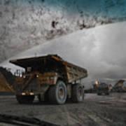 Trucks Hauling Waste Rock At Batu Poster by Randy Olson
