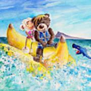 Truffle Mcfurry And Mary The Scottish Sheep Riding The Banana Poster