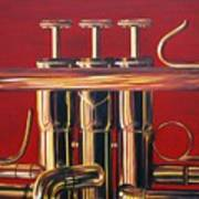 Trumpet In Red Poster
