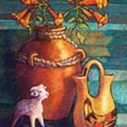 Trumpet Vines And Pottery Poster