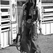 Try Again Cowboy Black And White Poster