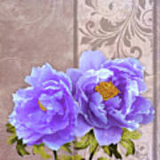 Tryst, Lavender Blue Peonies Still Life Flowers Poster