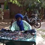 Tuareg Man Selling Jewelry Poster