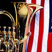 Tuba And American Flag Poster by Garry Gay