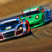 Tudor Audi R8 Races Porsche 911rsr United Sportcar Championship Poster