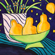 Tulips and 3 Yellow Pears Poster