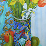 Tulips And Iris In A Japanese Vase, With Fruit And Textiles Poster
