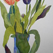 Tulips In Blue Vase Poster