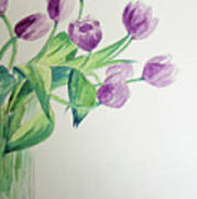 Tulips In Purple Poster by Julie Lueders