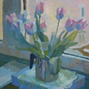 Tulips On A Window  Poster