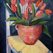 Tulips On A Chair Poster