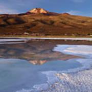 Tunupa Volcano Reflected In Salar De Uyuni At Twilight Bolivia Poster