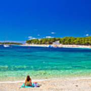 Turquoise Adriatic Beach In Primosten Poster