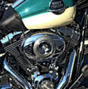 Turquoise And White Harley Tank And Motor Poster