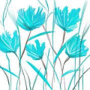 Turquoise Bloom Poster