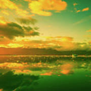 Turquoise Sunrise Poster