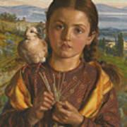 Tuscan Girl Plaiting Straw Poster