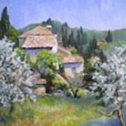 Tuscan  Hilltop Village Poster