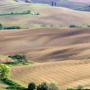 Tuscan Landscape With Plowed Fields Poster