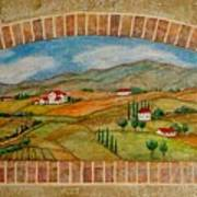 Tuscan Scene Brick Window Poster