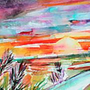 Tuscany Landscape Autumn Sunset Fields Of Rye Poster