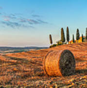 Tuscany Landscape With Farm House At Sunset, Val D'orcia, Italy Poster
