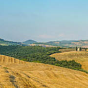 Tuscany Landscape With Rolling Hills At Sunset, Val D'orcia, Ita Poster