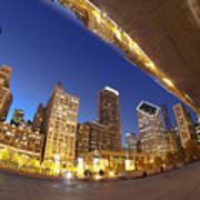 Twilight Chicago Skyline  Poster