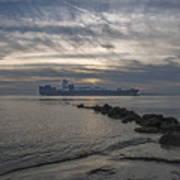 Twilight Steaming Into Charleston Harbor Poster