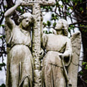 Two Angels With Cross Poster