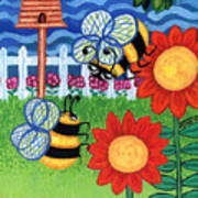 Two Bees With Red Flowers Poster by Genevieve Esson
