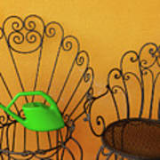 Two Black Iron Chairs And A Green Watering-can  Laid  On The Big Poster