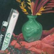 Two Books With Green Vase Poster