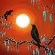Two Crows On Mossy Branches Poster