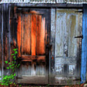 Two Doors On A Woodshed Poster