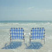 Two Empty Beach Chairs Poster