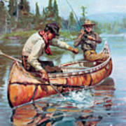 Two Fishermen In Canoe Poster